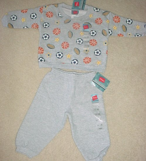 NEW Hanes INFANT 2 PIECE SWEATS SET 12 Months GRAY Cotton Play Sleepwear