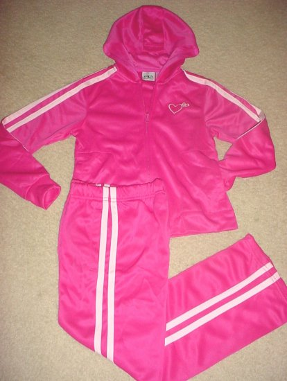 GIRLS Athletic Works 2 PIECE TRACK SUIT Hoodie Jacket and Pants 7/8 BRIGHT PINK