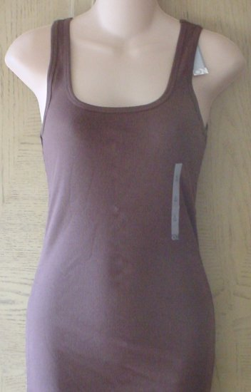NWT Misses OLD NAVY TANK TOP Long Ribbed Scoop Neck Tee LARGE 12/14 BROWN