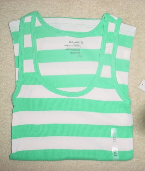 NWT Ladies OLD NAVY TANK TOP Long Layering Tee GREEN STRIPED Large 12/14