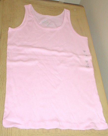 GIRLS Old NavyTANK TOP Ribbed Cotton Tee LARGE 10/12 PALE PINK