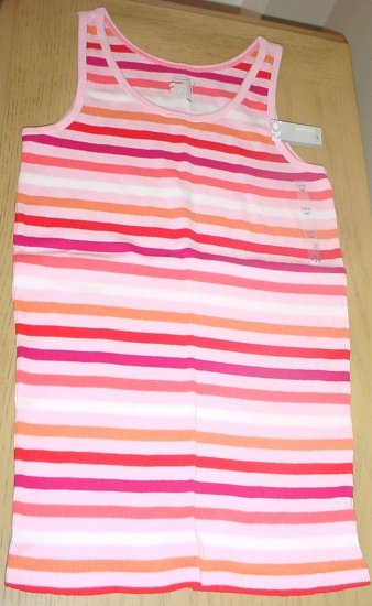 NEW Girls OLD NAVY TANK TOP T-Shirt LARGE 10/12  PINK STRIPE Cotton Tee