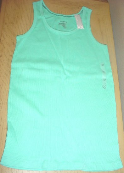 Girls OLD NAVY TANK TOP Ribbed Cotton Tee LARGE 10/12 AQUA BLUE