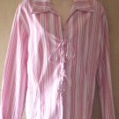 Womens LACE UP STRIPED TUNIC TOP Shirt  XL 18/20 RED Stripe