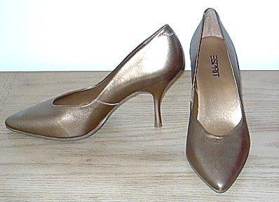 NIB Esprit METALLIC PUMPS Ladies Stiletto Heels SIZE 8.5 Antique Gold LEATHER Shoes