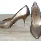 NIB Esprit METALLIC PUMPS Ladies Stiletto Heels SIZE 8.5 Antique Gold LEATHER Shoes