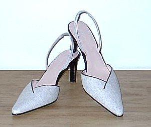 New ANNE KLEIN SLINGBACK PUMPS Ladies Linen Heels 7.5 TAN Shoes