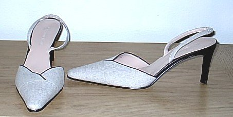 New ANNE KLEIN PUMPS Ladies Slingback Heels SIZE 9 TAN LINEN Shoes