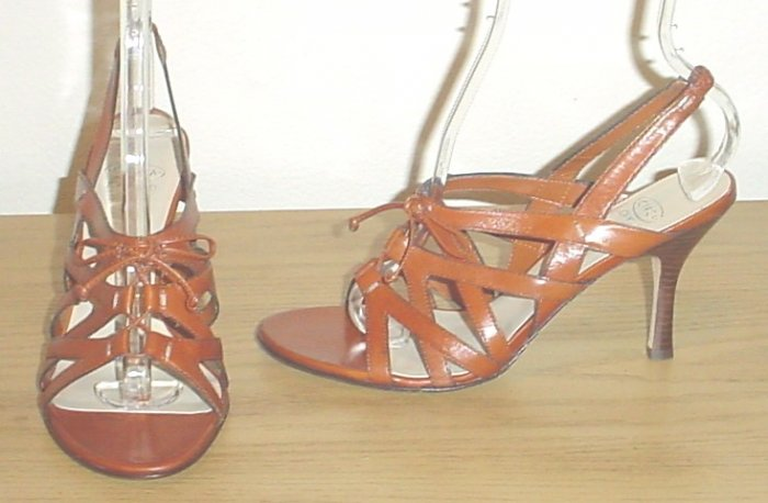 JOAN & DAVID SANDALS Heels 8.5M COGNAC LEATHER Shoes