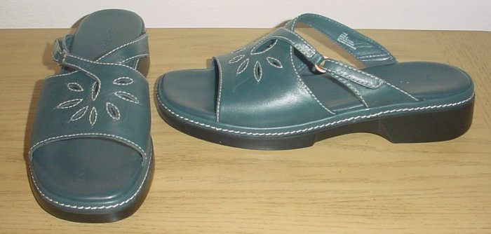 NEW Eurostep LEATHER SANDALS Ladies Slides SIZE 11M BLUE Comfort Shoes