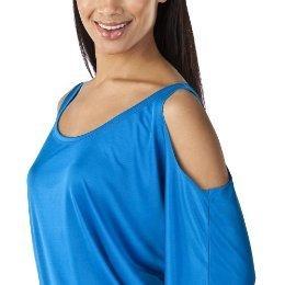 NWT Ladies JEAN PAUL GAULTIER BLOUSE Cold Shoulder Top BLUE Large