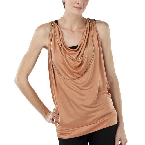 NWT JEAN PAUL GAULTIER Target NECKLACE TOP Blouse CORAL Large