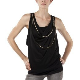 New JEAN PAUL GAULTIER NECKLACE TOP Chain Blouse BLACK Large