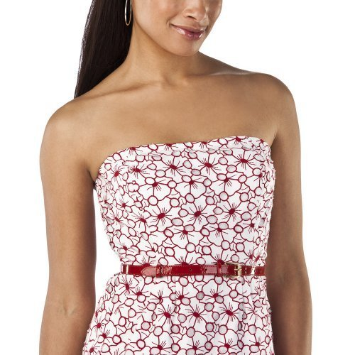 Jean Paul Gaultier DRESS Belted Strapless Sheath SIZE 5 RED/WHITE