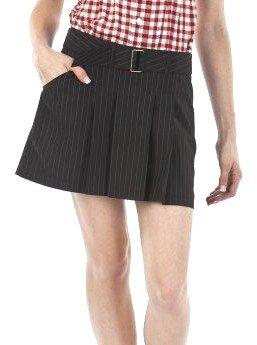 JEAN PAUL GAULTIER PINSTRIPE SKIRT Size 11 BLACK Belted Mini