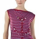 New JEAN PAUL GAULTIER STRIPED ANCHOR TOP Side Knot Tunic Tee SMALL Red/Gray