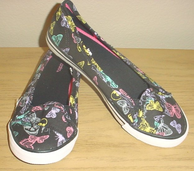 New GRAPHIC SNEAKER FLATS 7M BLACK Butterfly Print CANVAS Shoes