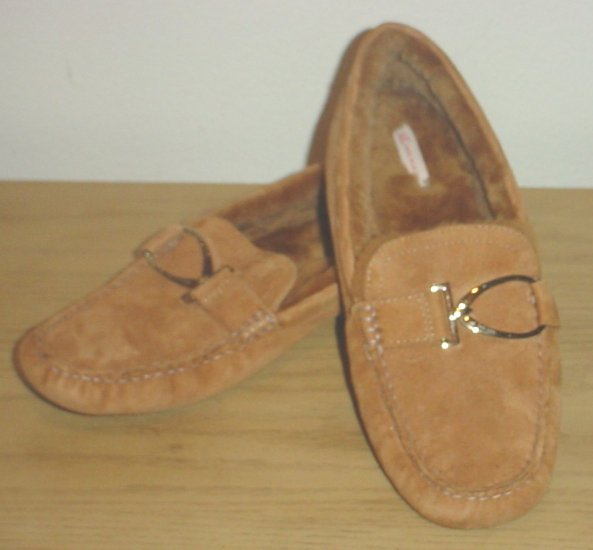 NEW Anne Klein PLUSH MOC LOAFER 10M CAMEL SUEDE Shoes