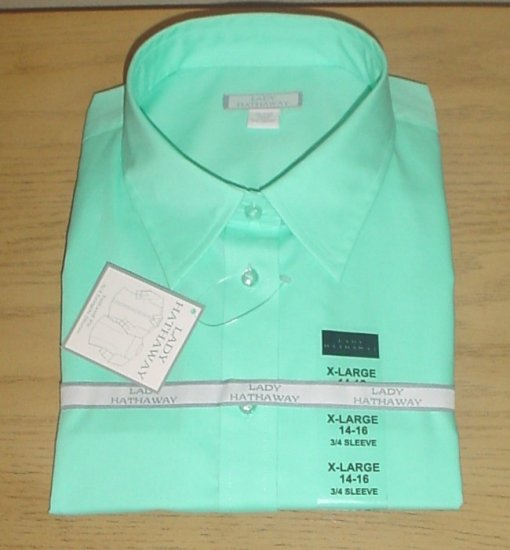 NWT Lady Hathaway 3/4 SLEEVE TAILORED SHIRT Button Front Top XL (14/16) AQUA
