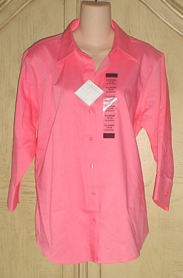 NWT Lady Hathaway 3/4 SLEEVE TAILORED SHIRT Button Front Top XL (14/16) CORAL