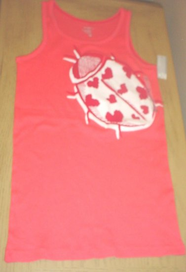 New GIRLS Old Navy GRAPHIC TANK TOP Cotton Ladybug Tee LARGE 10/12  CORAL