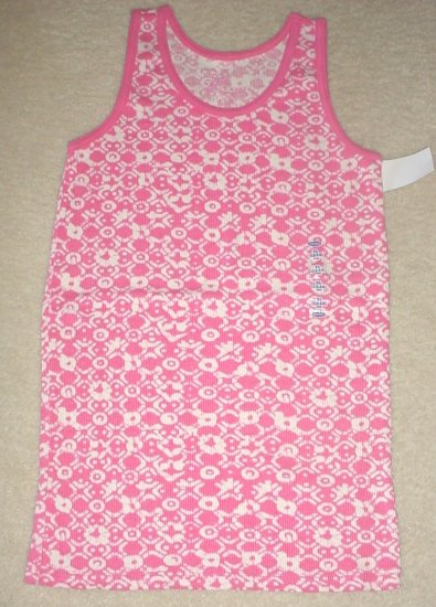 GIRLS Old Navy PRINT TANK TOP Ribbed Cotton Tee XL 12/14  PINK