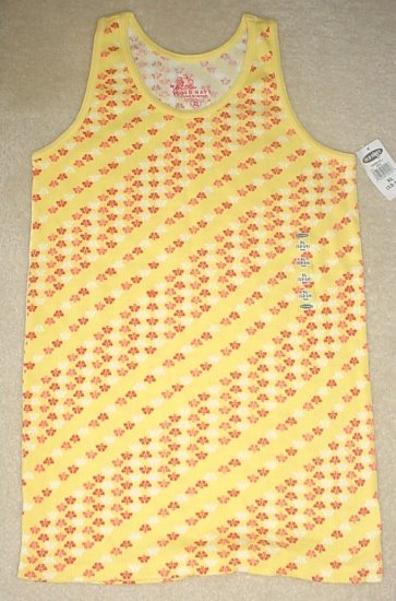 GIRLS Old Navy PRINT TANK TOP Ribbed Cotton Tee XL 12/14  YELLOW