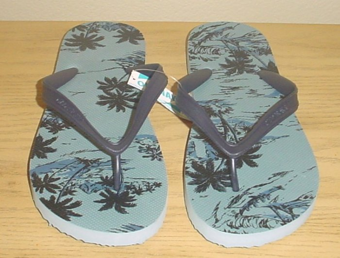 NEW MENS Old Navy PRINT FLIP FLOPS Sandals SIZE 10-11 GRAY Shoes