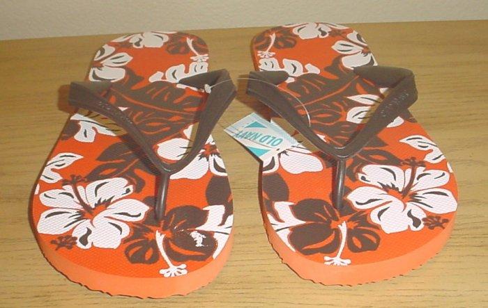 NEW MENS Old Navy PRINT FLIP FLOPS Sandals SIZE 8-9 BROWN Shoes