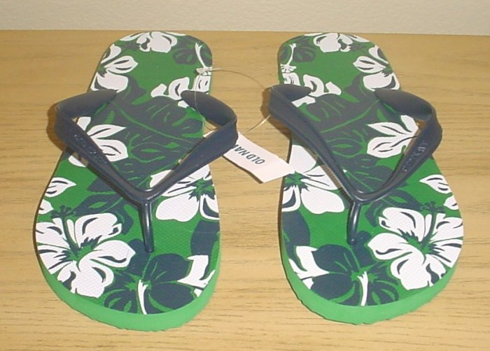 NEW MENS Old Navy PRINT FLIP FLOPS Sandals SIZE 10-11 NAVY/GREEN Shoes