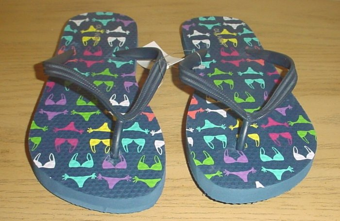 NEW LADIES Old Navy PRINT FLIP FLOPS Thong Sandals SIZE 8 NAVY BLUE Shoes