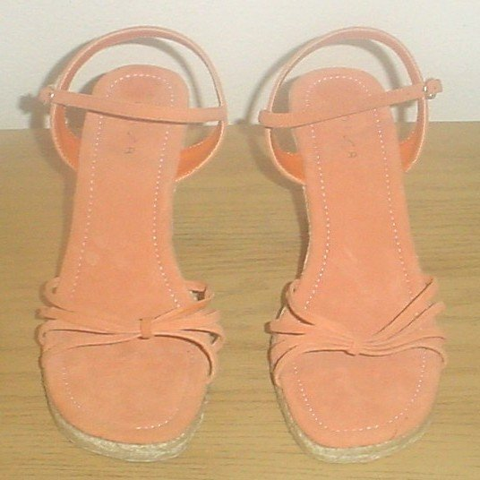 LADIES Unisa SUEDE WEDGE ESPADRILLE SANDALS 10M ORANGE Shoes