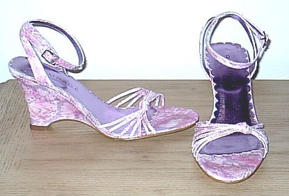 Rampage WEDGE SANDALS Ankle Strap Shoes 7.5M PINK SNAKESKIN