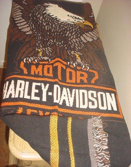 NEW HARLEY DAVIDSON EAGLE THROW 100% Cotton 52x70 BLACK