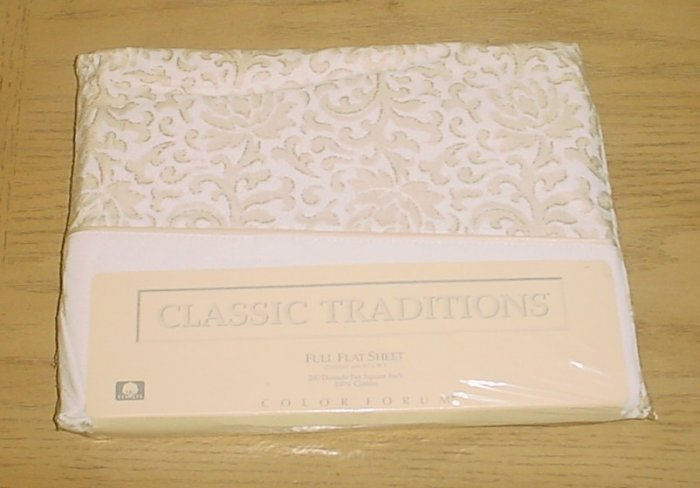 CLASSIC TRADITIONS FLAT SHEET Bedding Full Size 100% COTTON Scroll Pattern
