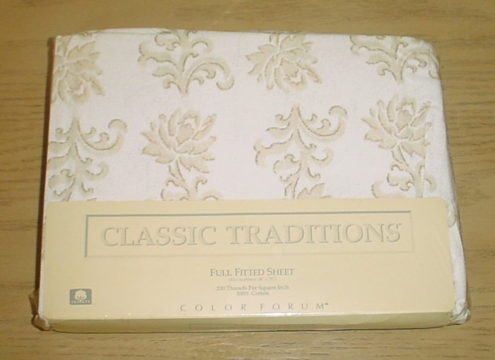 New CLASSIC TRADITIONS FITTED SHEET JCPenney Bedding 100% Cotton FULL SIZE Scroll Pattern