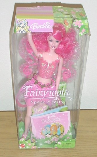 MATTEL BARBIE FAIRYTOPIA DOLL Pink Sparkle Fairy + Pop-up Book NEW IN BOX