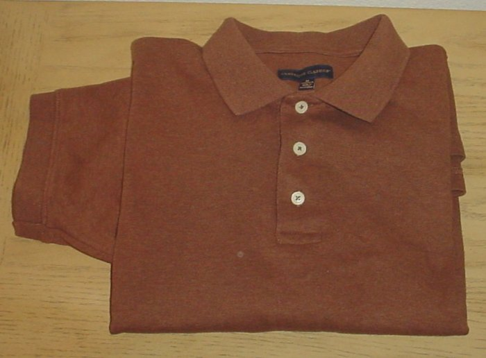NEW Mens CAMBRIDGE CLASSICS POLO SHIRT Medium MOCHA BROWN 100% Cotton