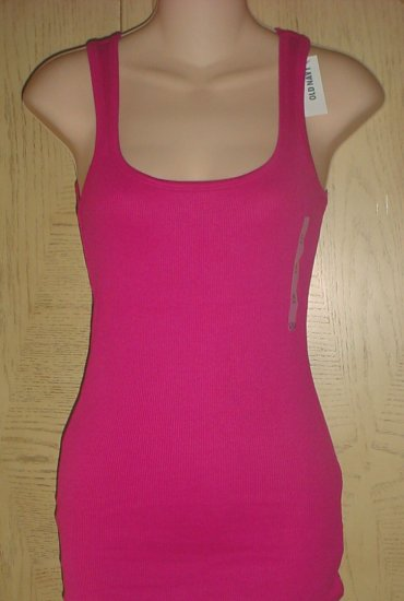 NEW Ladies OLD NAVY TANK TOP Perfect Ribbed Tee FUCHSIA PINK XS Cotton