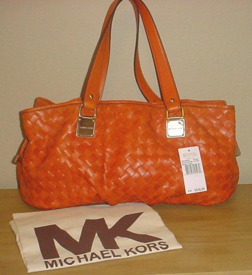 NWT MICHAEL KORS PURSE Newbury Woven Leather Satchel ORANGE