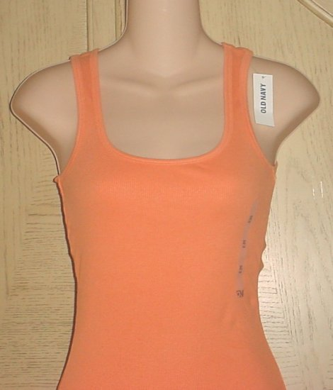 NWT Old Navy PERFECT TANK TOP Long Ribbed Tee ORANGE XL 16/18 Cotton