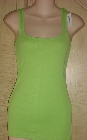 NWT Ladies OLD NAVY TANK TOP Long Layering Tee LIME GREEN XS (2) Cotton