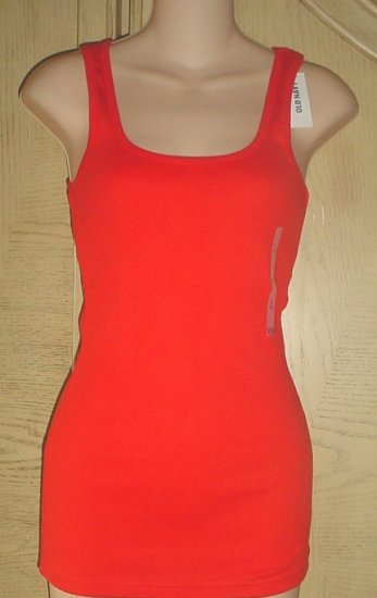 MISSES Old Navy PERFECT TANK TOP Long Ribbed Tee RED Medium 8/10 Cotton