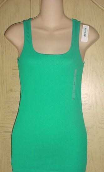 LADIES Old Navy PERFECT TANK TOP Long Ribbed Tee JADE GREEN  XS (2) Cotton