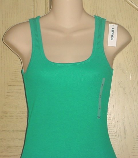 MISSES Old Navy PERFECT TANK TOP Long Ribbed Tee JADE GREEN Small 4/6 Cotton