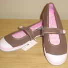 New GIRLS xhilaration SNEAKER SHOES Slip-On Canvas Flats 4.5M BROWN