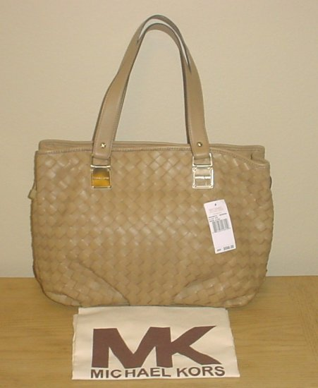 NWT MICHAEL KORS PURSE Newbury Leather Large Satchel Tote Bag MUSHROOM