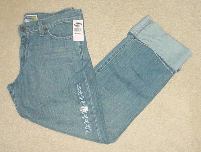 NEW Ladies CUFFED JEANS Stretch Denim Cropped Pants SIZE 6 Short BOYFRIEND FIT
