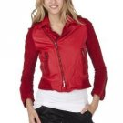 NWT Zac Posen  MOTO JACKET Ladies Coat LARGE Leather/Suede RED