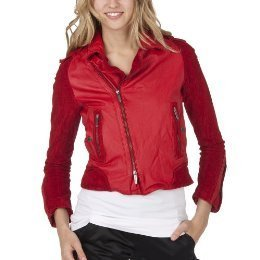 NWT Zac Posen  MOTORCYCLE JACKET Ladies Coat LARGE Leather/Suede RED
